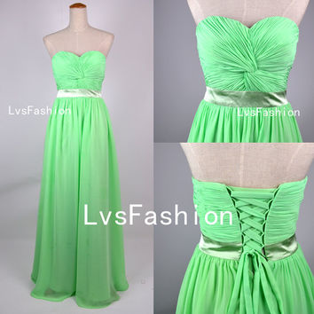Strapless Sweetheart Floor Length Lime Green Chiffon Prom Dresses Bridesmaid Dresses Wedding Party Dress