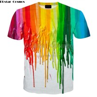 PLstar Cosmos Drop shipping 2018 summer Fashion Men Women t shirt Paint Drips 3D Print tshirt Harajuku casual Cool T shirts