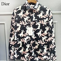 DIOR Fashion Women Men Print Long Sleeved Lapel Shirt Top