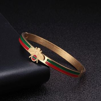 Luxury Stainless Steel Charm Bangles Men Women OL Jewelry Bee Brand Wedding Party Open Cuff Bangles pulsera