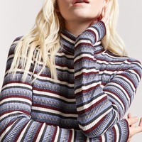 Stripe Ribbed Knit Turtleneck Top