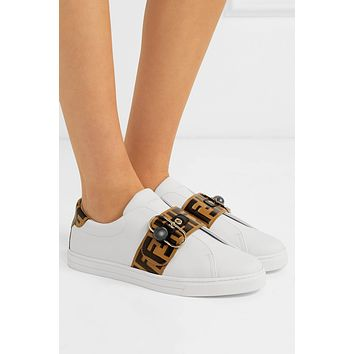 FENDI Logo-embossed leather sneakers