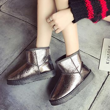 Fashion Casual Ankle Rain Boots British Fashion Platform Slip On Solid Ankle Snow Boots Woman Shoes