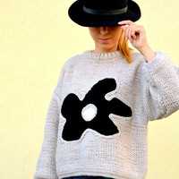 Gray sweater, hand knitted sweater with flower, M size ,3/4 sleeves,  womens clothing