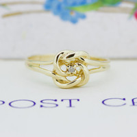 Tiny Knotted Ring | Dainty Gold Stacking Ring | Romantic Gift for Her | 10k Yellow Gold Promise Ring | Vintage Love Knot Ring | Size 5.75