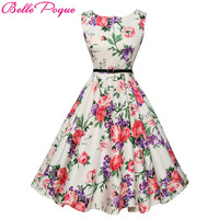 Belle Poque Womens Summer Dress 2017 Floral Retro Vintage 50s 60s Casual Party Robe Rockabilly Dresses Plus Size Vestidos mujer
