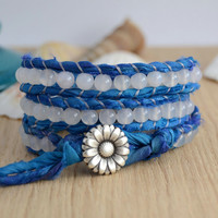 Blue and white beaded sari silk wrap bracelet. Soft bohemian wrap bracelet