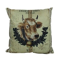 Dairy Farm Cow Vintage Pillow Cover | Farmhouse Decor | Home Décor