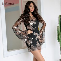 Joyfunear Sexy mesh floral sequin party dress women Flare sleeve transparent short dress Summer black two piece dress vestido
