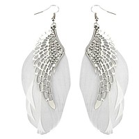 Silvertone Feather Angel Wing Earrings