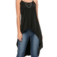 X-Back High-Low Spaghetti Strap Plain Sleeveless T-Shirt