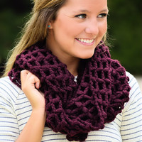 Nothing but Net Infinity Scarf-Burgundy
