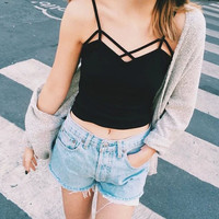 summer style womens tops fashion 2015 fitness sexy Suspenders Strapless stripe white crop top cropped halter sport bra top K