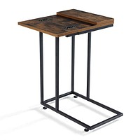 Linsy Home Foldable C Shaped End Table,Industrial Side Sofa Table, Space Saving for Bedroom Living Room,LS200J2-A