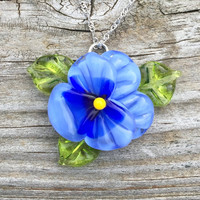 Blue Pansy Flower Handblown Glass Pendant Sterling Silver by The Wild Willows™