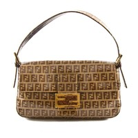 Authentic Fendi Brown Zucca FF logos vinyl leather shoulder bag