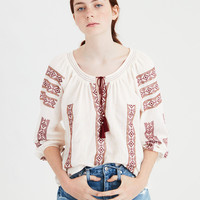 AE Embroidered Tassel Blouse, Cream