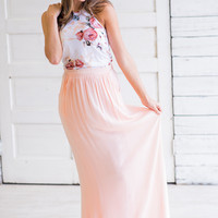 High Luxe Gathered Pocket Maxi Skirt (Peach)