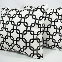 Two White Throw Pillows - 16 x 16 inches Black and White Geometric Pillow - Decorative Throw Pillow Cover Couch Pillow Accent Pillow
