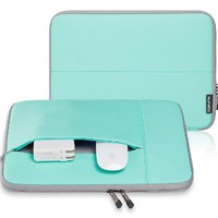 "Runetz - 13-inch Hot Teal Neoprene Sleeve Case Cover for MacBook Pro 13.3"" with or w/out Retina Display and MacBook Air 13"" Laptop - Teal-Gray"