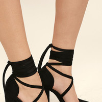 Brigitte Black Suede Lace-Up Heels
