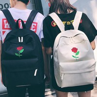 Men Canvas Heart Backpack Cute Women Rose Embroidery Backpacks for Teenagers Women's Travel Bags Mochilas Rucksack School Bags