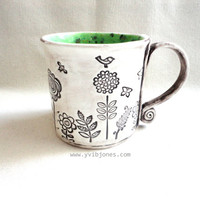 Large Ceramic Mug, Coffee Cup, Birds and Butterflies Design, Nature Art, Hand Built from Scratch, Speckled Green