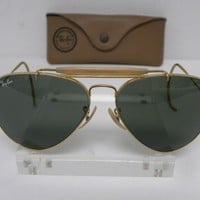 Cheap Vintage B&L Ray Ban Outdoorsman Gold Cable Wrap G-15 58mm Aviator Sunglasses USA outlet
