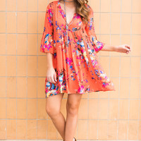 Influenced By Florals Dress, Coral