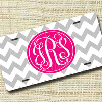 Custom Personalized License Plate, Monogrammed License Plate, Chevron, Light Gray & Shocking Pink