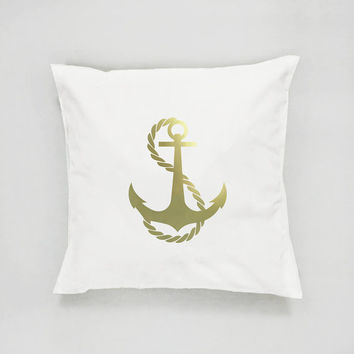 Anchor Pillow, Anchor Home Decor, Gold Pillow, Cushion Cover, Nautical Decor, Throw Pillow, Bedroom Decor, Bed Pillow, Decorative Pillow,