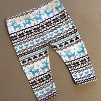 Pre-Order Baby Leggings - Blue and Charcoal on White - Nordic - Custom Sizing NB to 2T