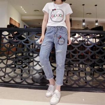 """""""Gucci"""" Women Casual Fashion Beaded Rhinestone Letter Short Sleeve T-shirt Jeans Trousers Set Two-Piece"""