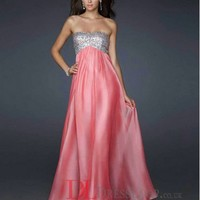 A-Line Sweetheart Chiffon Watermelon Long Prom Dress/Evening Gowns With Beading VTC363