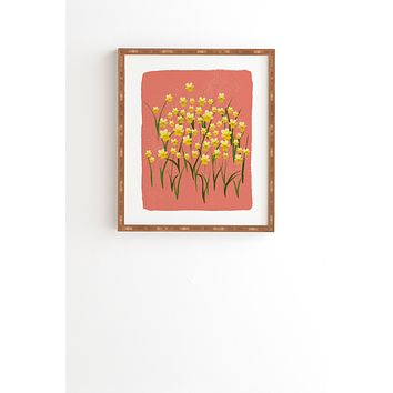 Joy Laforme Pansies in Gold and Coral Framed Wall Art