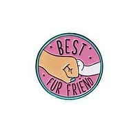 Best Fur Friend Enamel Pin Badge in Pink and Blue