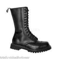 Demonia Heavy Duty Black Leather Men's Combat Boots