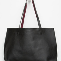 Reversible Faux Leather Tote Black/Burgundy One Size For Women 26473758101