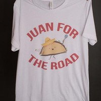 """Gina """"Juan For The Road"""" White Crew Neck Tee"""