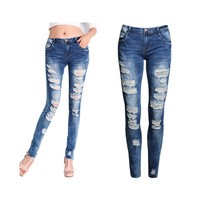 Womens Skinny Denim Ripped Jeans (a)