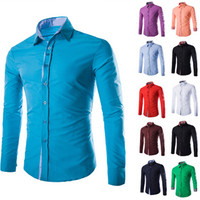 Solid Color Plaid Purfled Long Sleeve Shirt