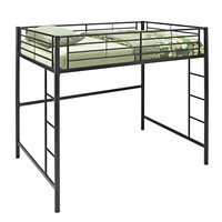 Metal Full/Double Loft Bunk Bed - Black