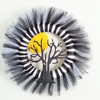 Halloween Black and White Tulle Wreath