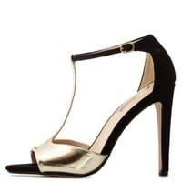 Black Combo Color Block Metallic T-Strap Heels by Charlotte Russe
