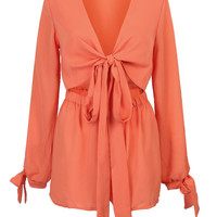 Orange Plunge Tie Front Open Belly Split Sleeve Romper Playsuit
