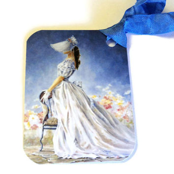 2 Gift Tags, Lady in Blue, Party Favor Tags, Blue White Merchandise Tags, handmade tags
