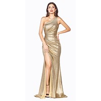 Long One Shoulder Fitted Gown Gold Gathered Side Leg Slit