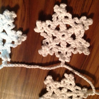 Hand Crochet Garland,Small Doily Decoration,SALE Snowy White Snowflake Garland,16 Snowflakes MANY COLORS-Winter White,Grey,Off-White,Natural