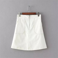 Summer Women's Fashion High Rise Zippers Decoration With Pocket Skirt [4920248580]