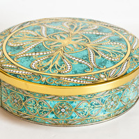 Vintage Daher Tea Tin Biscuit Canister, Round Mint Green and Gold Tin Storage Box, Made in England